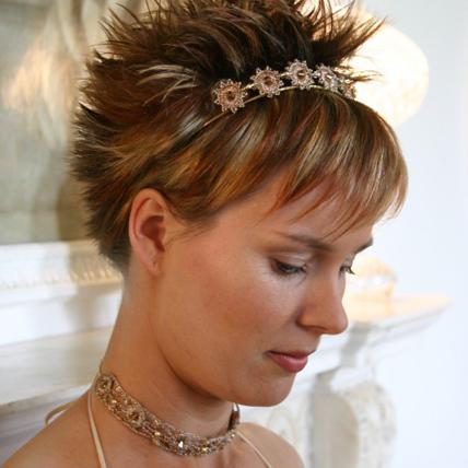 Jewellery, Gold Topaz Hairband. Rose gold crochet head piece with topaz cystal detail. Matching croc