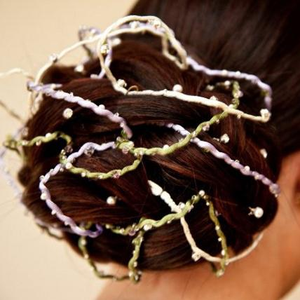 Jewellery, Custom Hairwire. This bespoke hairwire features coloured satin ribbons that are embellish