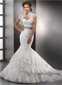 Bridal Dresses. Lady Tenille wedding dress. This fit and flare of embellished lace and tulle with sw
