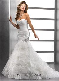 Bridal Dresses. Lady Penelope wedding dress. This glamorous fit and flare silhouette in pleated tull