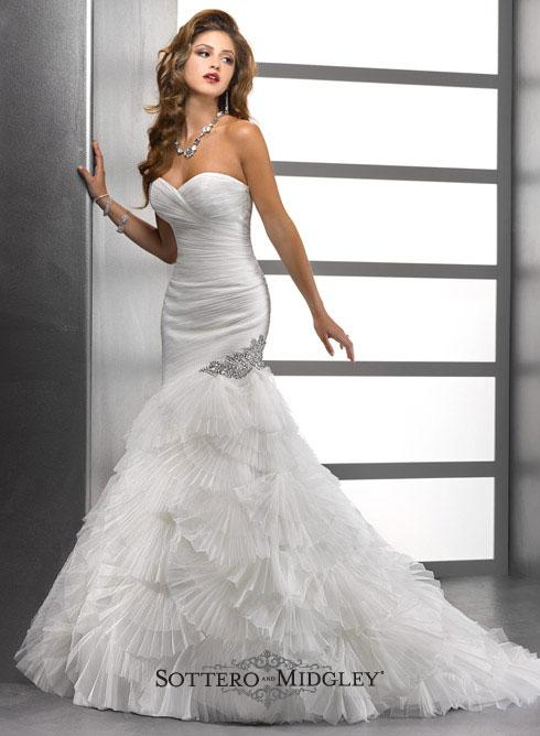 Bridal Dresses, Lady Penelope wedding dress. This glamorous fit and flare silhouette in pleated tull