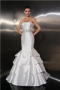Bridal Dresses. Lady Judith wedding dress. Mikado Gown with strapless neckline highlighted with elab
