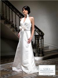 Bridal Dresses. Lady Florance wedding dress. Gorgeous satin small A-line gown with amazing halter ne