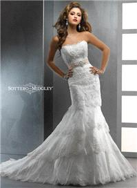 Bridal Dresses. Lady Dallyn wedding dress. This embellished lace over Romance Satin slim A-line silh