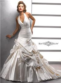 Bridal Dresses. Lady Blaire. A pleated halter neckline makes a striking statement in this Soft Shimm