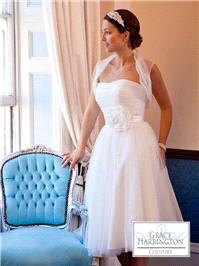Bridal Dresses. Lady Caroline wedding dress. Gorgeous t-length soft tulle gown with lovely flower sa