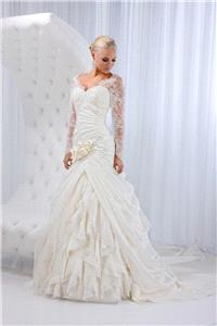 Bridal Dresses. Lady Michelle wedding dress. Satin organza with lavish lace sleeves complemented wit