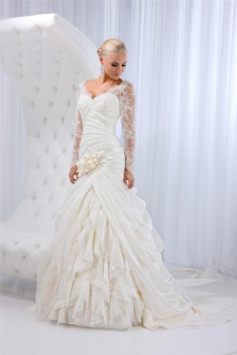 Bridal Dresses, Lady Michelle wedding dress. Satin organza with lavish lace sleeves complemented wit
