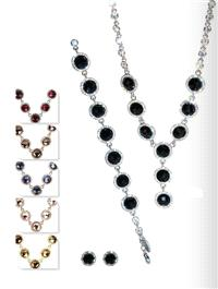 Jewellery. Jewellery Set B. Necklace, bracelet and matching earrings. Available in Amethyst (Purple)