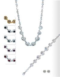 Jewellery. Jewellery Set C. Necklace, bracelet and matching earrings. Available in Red, Midnight Blu