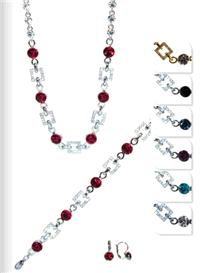 Jewellery. Jewellery Set D. Necklace, bracelet and matching earrings. Available in Red, Midnight Blu