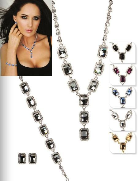 Jewellery, Jewellery Set F. Necklace, bracelet and matching earrings. Available in Sapphire Blue, Bl