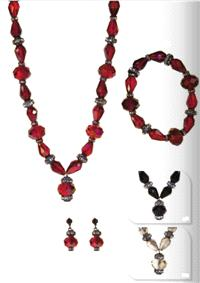 Jewellery. Jewellery Set G. Necklace, bracelet and matching earrings. Available in Red, Black & Grey