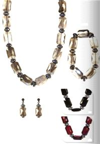 Jewellery. Jewellery Set J. Necklace, bracelet and matching earrings. Available in Red, Black & Grey