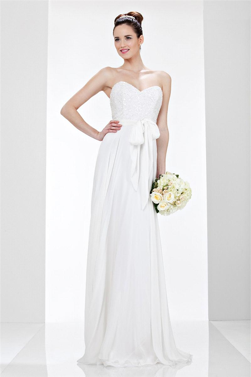 Bridal Dresses, Theia White Glitter Sweetheart wedding dress.