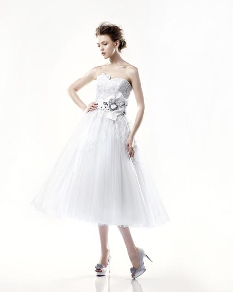 Bridal Dresses, Anne Gregory Danbury Front wedding dress with white belt.