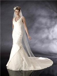 Bridal Dresses. Theresa wedding dress. This is a v-neck shape on the neck line with a fitted shirt w