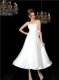 Bridal Dresses. Kerry wedding dress. This T-length dress made up of a sweet heart neckline and a sas