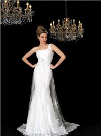 Bridal Dresses. Laura wedding dress. One-shoulder dress. The fitted skirt underneath is a silk satin