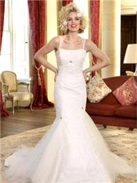 Bridal Dresses. Judith wedding dress. Fitted style that kicks out at the knee with a soft tulle to g
