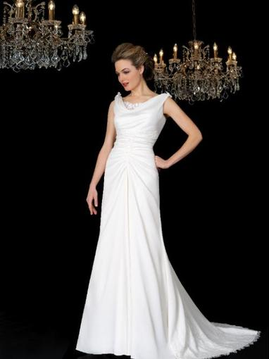 Bridal Dresses, Romana wedding dress. Very elegant cowel neck line and a soft A line skirt with gath