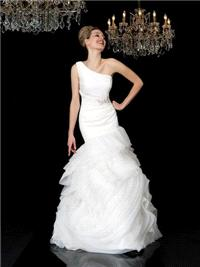 Bridal Dresses. Emily wedding dress. One-shoulder dress made in a fabric that is like a second skin.