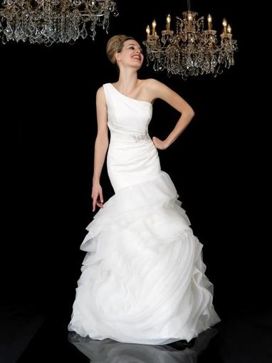 Bridal Dresses, Emily wedding dress. One-shoulder dress made in a fabric that is like a second skin.
