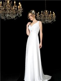 Bridal Dresses. Philipa wedding dress. V neck shape neckline that falls in a soft A-line slip like s