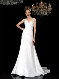 Bridal Dresses. Angelina wedding dress. V-neck shape neckline with French lace that falls in to soft