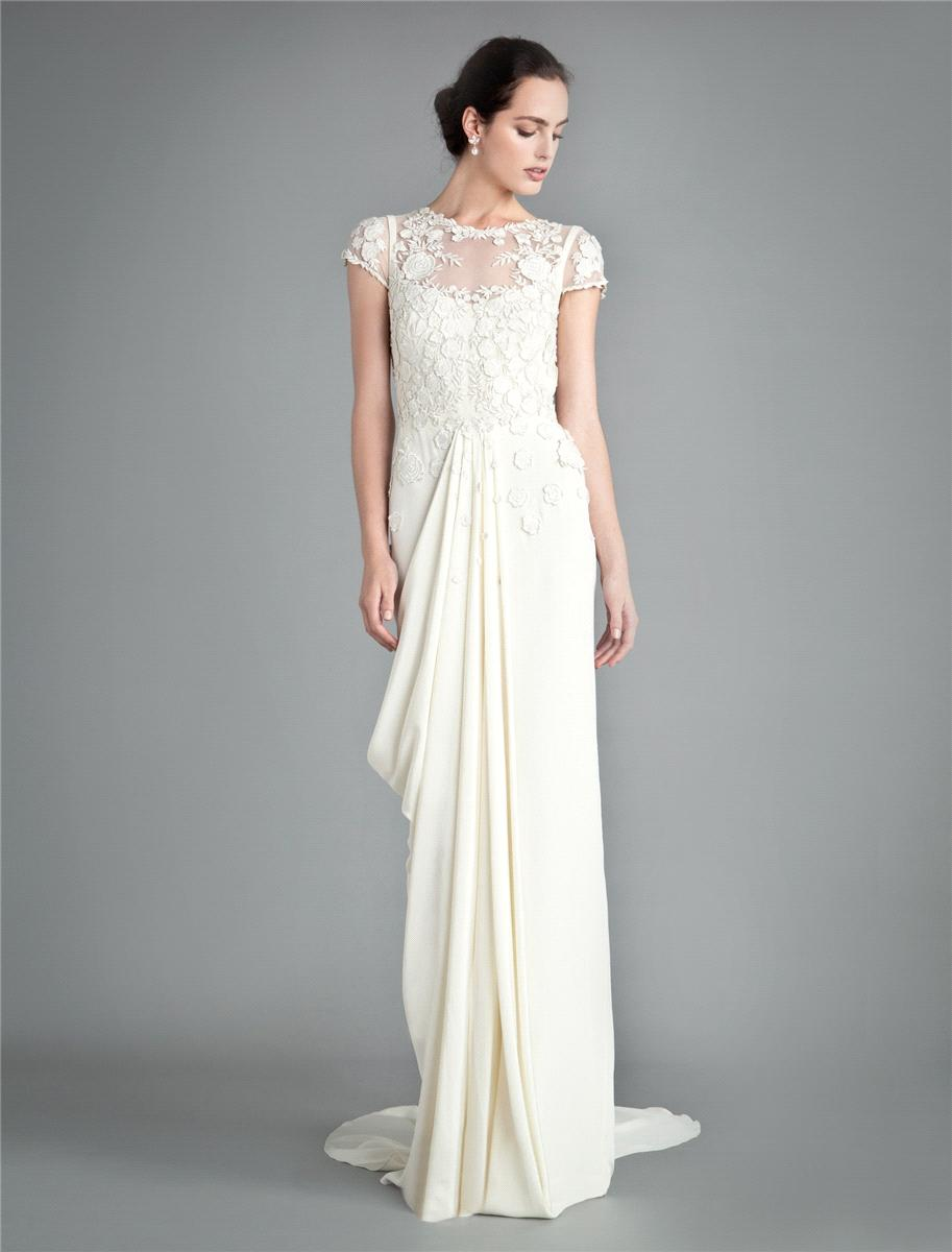 Bridal Dresses, Temperley London Laelia Floral wedding dress in ivory.