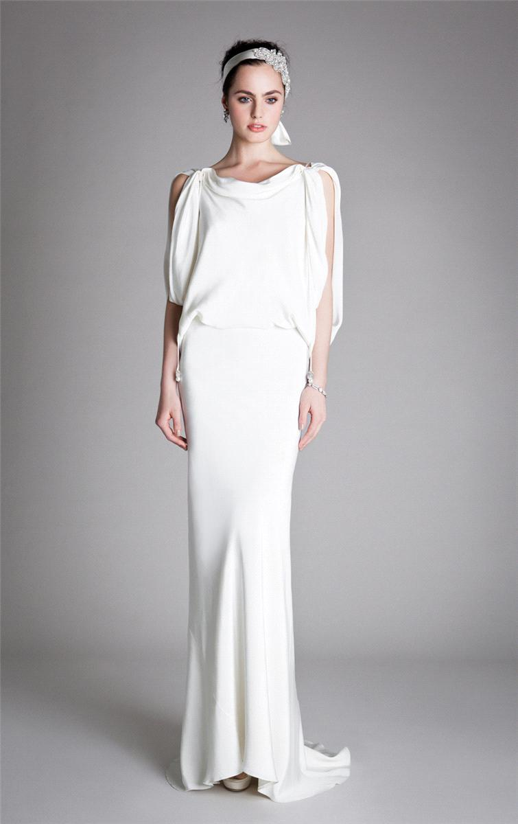 Bridal Dresses, Temperley London Draped Scarlet wedding dress in ivory.