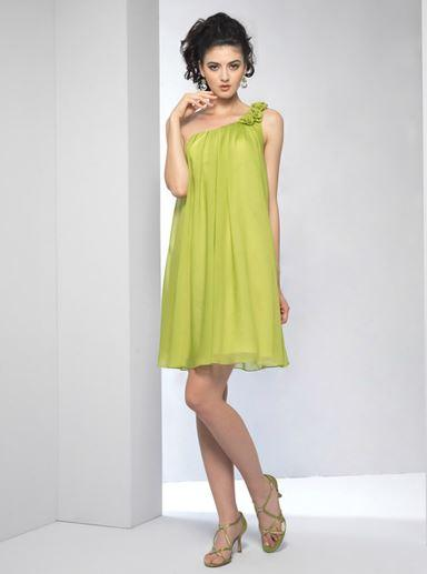 Attire, Bridesmaid cocktail dress (lime).