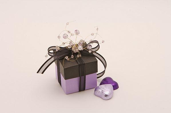 Accessories and Favours, Black and Lilac Jewel favour box (H:50mm, W:50mm, D:50mm) with a co-ordinat