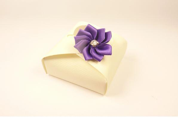 Accessories and Favours, Cadbury's favour box (H:17mm, W:47mm, D:47mm). Purple satin ribbon dahlia w