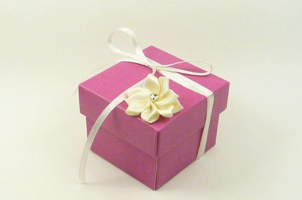 Accessories and Favours, Hot Pink & Ivory Dahlia favour box (H:50mm, W:50mm, D:50mm) adorned with an