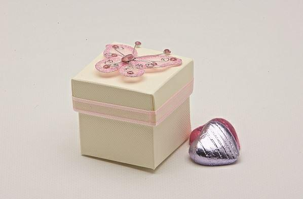Accessories and Favours, Pink Butterfly favour box (H:50mm, W:50mm, D:50mm) featuring a baby pink gl
