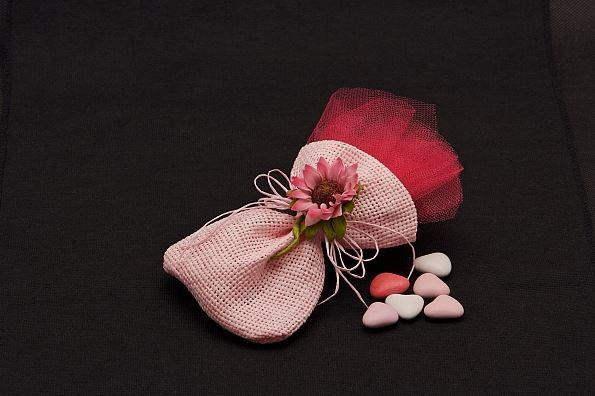 Accessories and Favours, Sunflower Pink Bomboniere favour with a co-ordinating fuschia tulle insert