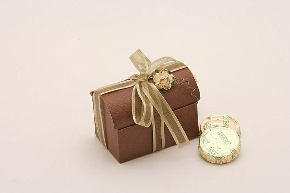 Accessories and Favours, Brown Silk favour chest (H:52mm, W:70mm, D:45mm) tied with willow satin edg