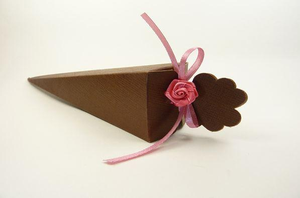 Accessories and Favours, Brown Silk Cone favour box (H:155mm) decorated with pink narrow satin ribbo