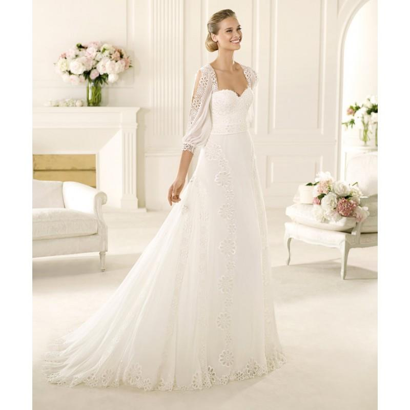 My Stuff, Exquisite A-line Sweetheart 3/4 Length Sleeve Lace Sweep/Brush Train Chiffon Wedding Dress
