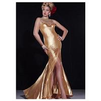 Marvelous Tulle & Gold Cloth High Collar Neckline Mermaid Slit Evening Dresses With Beadings & Rhine