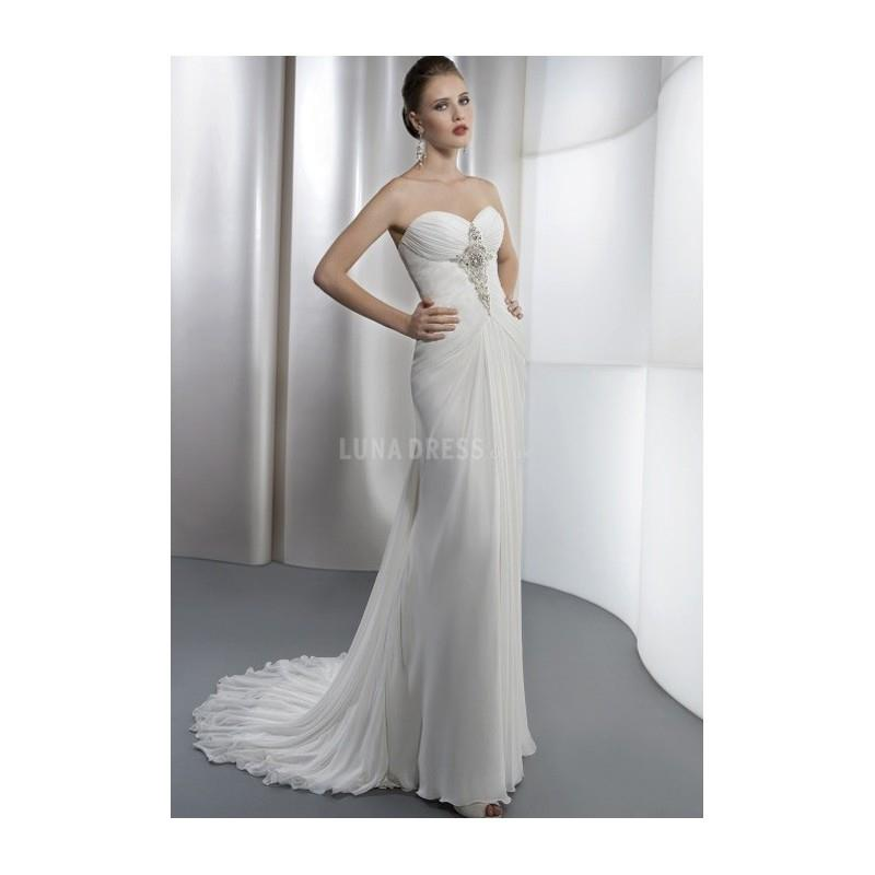 My Stuff, Chic Sheath/ Column Sweetheart Chiffon Floor Length Wedding Dress With Beading - Compellin
