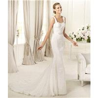 Exquisite A-Line Spaghetti Straps Beading Sweep/Brush Train Lace Wedding Dresses - Dressesular.com