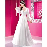 Charming A-line Long Sleeve Beading Ruching Sweep/Brush Train Chiffon Wedding Dresses - Dressesular.