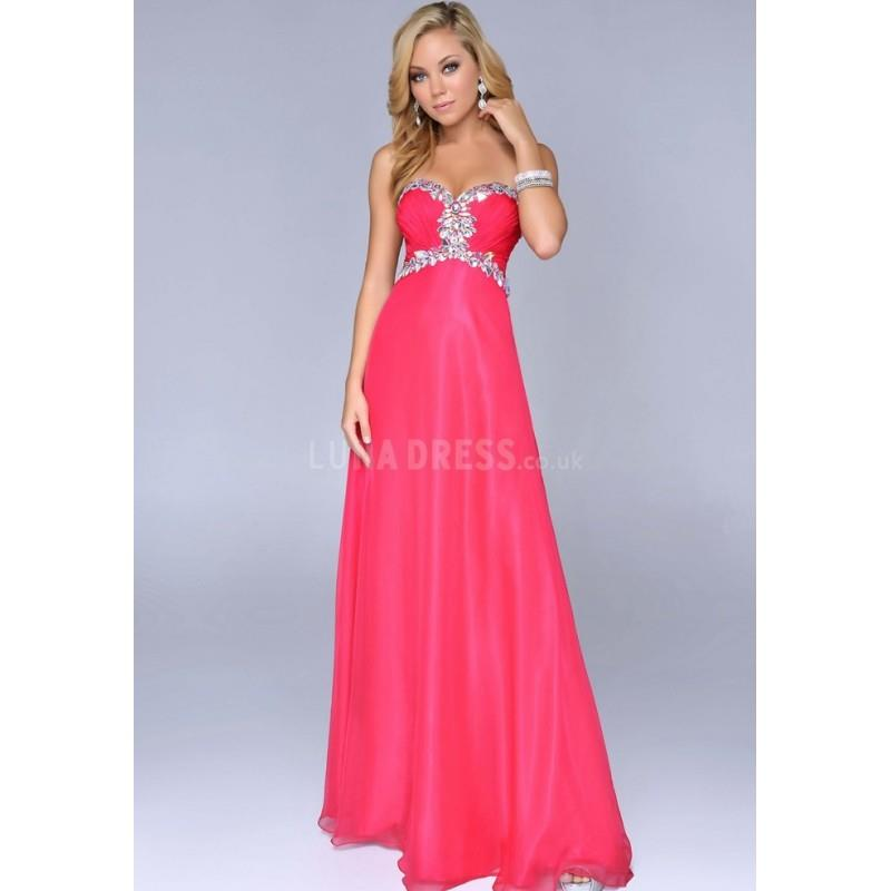 My Stuff, Luxurious Sweetheart Chiffon Sleeveless Floor Length A line Prom Dresses With Crystal - Co