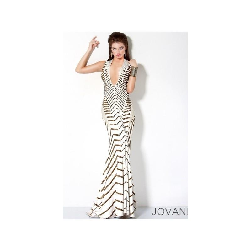 My Stuff, Jovani Gold Studded Mermaid Prom Dress with Deep V Neck 9420 - Brand Prom Dresses|Beaded E