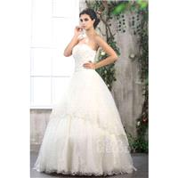 Trendy A-Line Strapless Floor Length Tulle Wedding Dress CWLF13010 - Top Designer Wedding Online-Sho