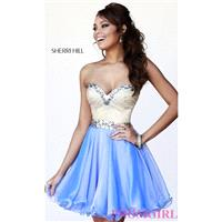 Beaded Sherri Hill Short Strapless Homecoming Dress 1929 - Brand Prom Dresses|Beaded Evening Dresses