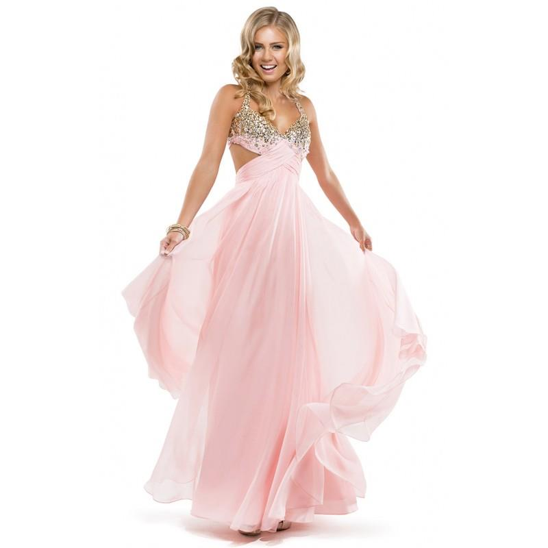 wedding, Exquisite A-line Halter Beading Criss Cross Ruching Sequins Floor-length Chiffon Evening Dr