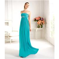 Simple A-line Strapless Beading Ruching Floor-length Chiffon Cocktail Dresses - Dressesular.com